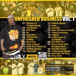 DJ DCeezy & Infinite Faction Jup Unfinished Business Vol. 1 Back Cover