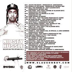 Nipsey Hu$$le Bullets Ain't Got No Name Vol. II Back Cover