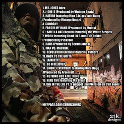 Serius Jones Serius Bizness Mixtape Back Cover