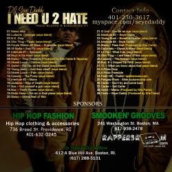 DJ Seye Daddy I Need U 2 Hate (Hood Blends) Back Cover